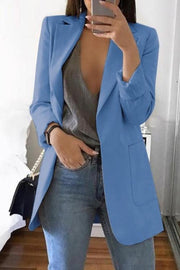 Solid Color Lapel Pocket Blazer