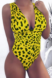 Deep V Leopard Print Sexy One-piece Swimwear