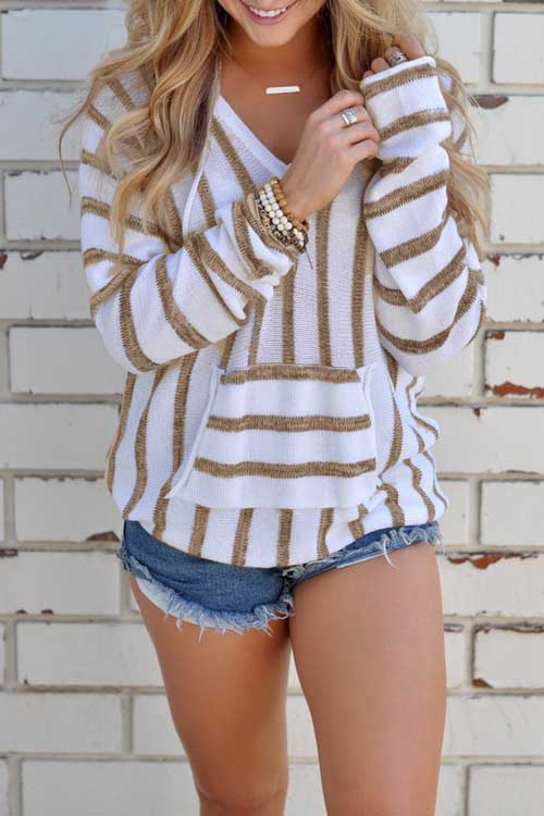 Stripe Pocket Thin Sweater Hoodie