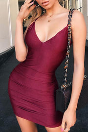 Spaghetti Strap Open Back Ruched Design Bodycon Dress