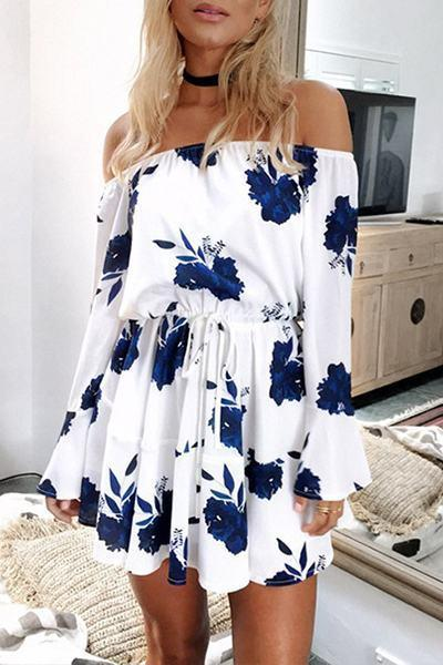 Flower Print Off Shoulder Belted Dress