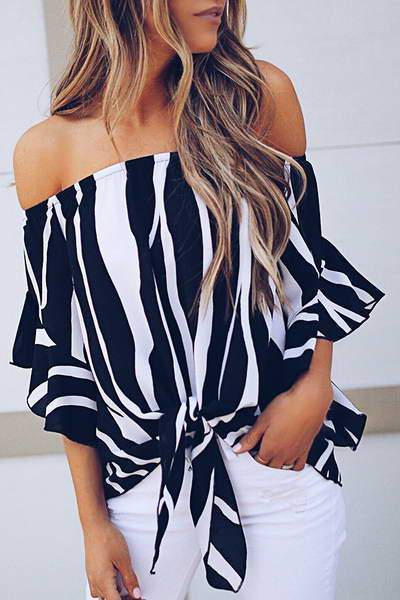Off Shoulder Bow-tie Stripe Blouse