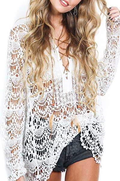 Lace Up Neck Neach Top