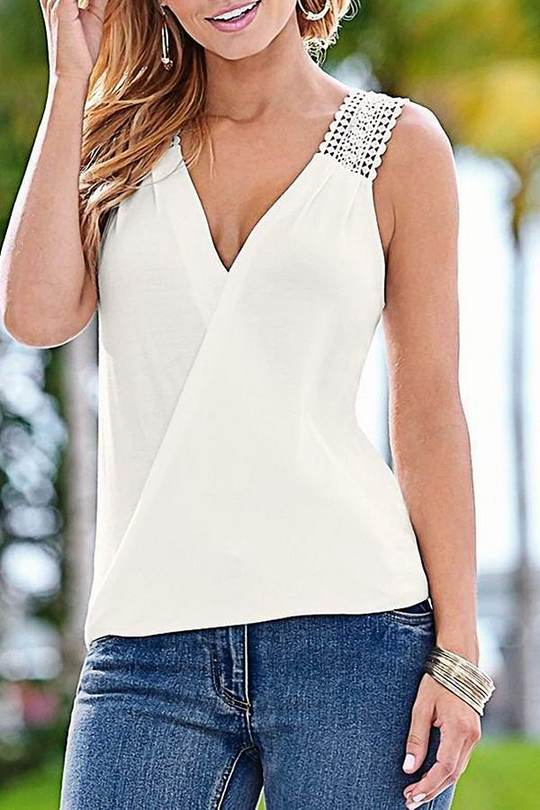 Elegant Crochet Splicing Detail Vest