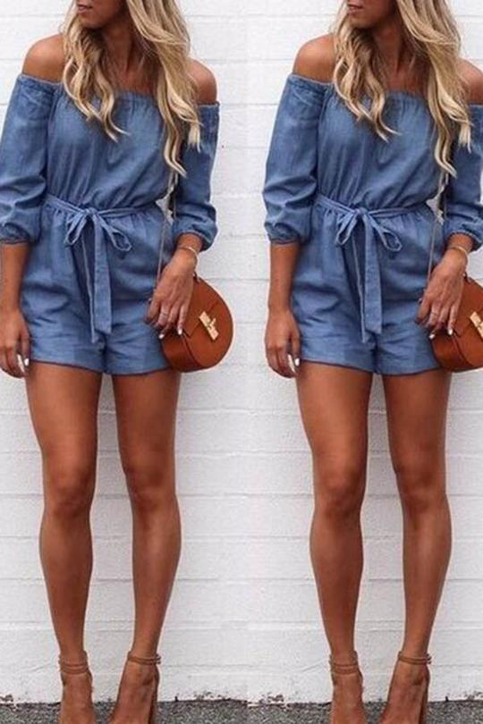 Blue Off Shoulder Romper