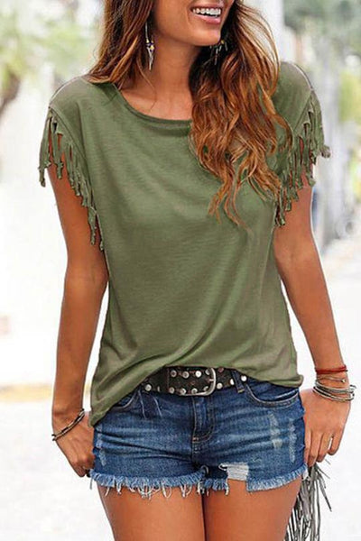 Tassel Sleeve Casual T-shirt