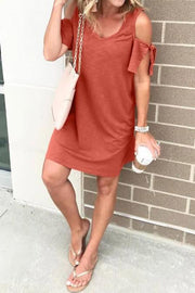 Cold Shoulder Tie Dress
