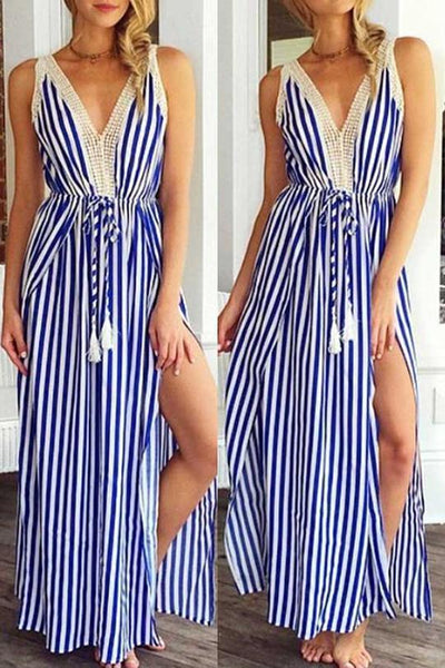 Stripe Lace Patchwork Belted Slit Dress