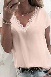 Lace Trim V Neck Top