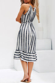 Cozy Stripe Ruffle Edges Dress