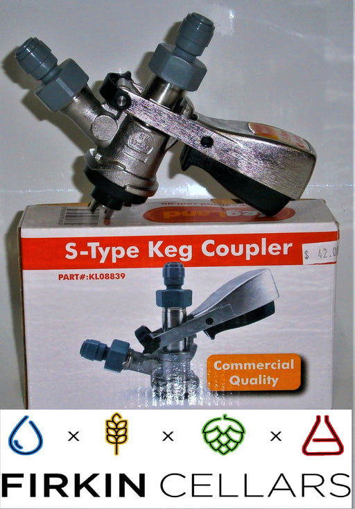 S-Type Keg Coupler - Stainless Steel & Duotight Fittings