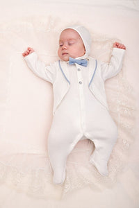 Tuxedo Imitation Coverall with Contrast Bow-Tie