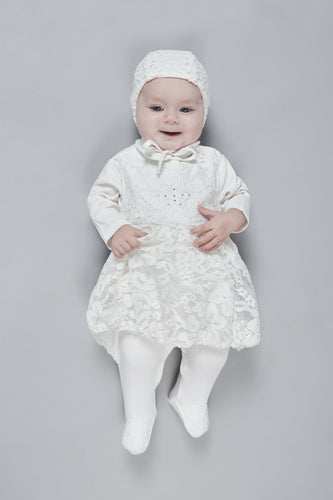 Little Star Lace Coverall-Dress and Bonnet Set