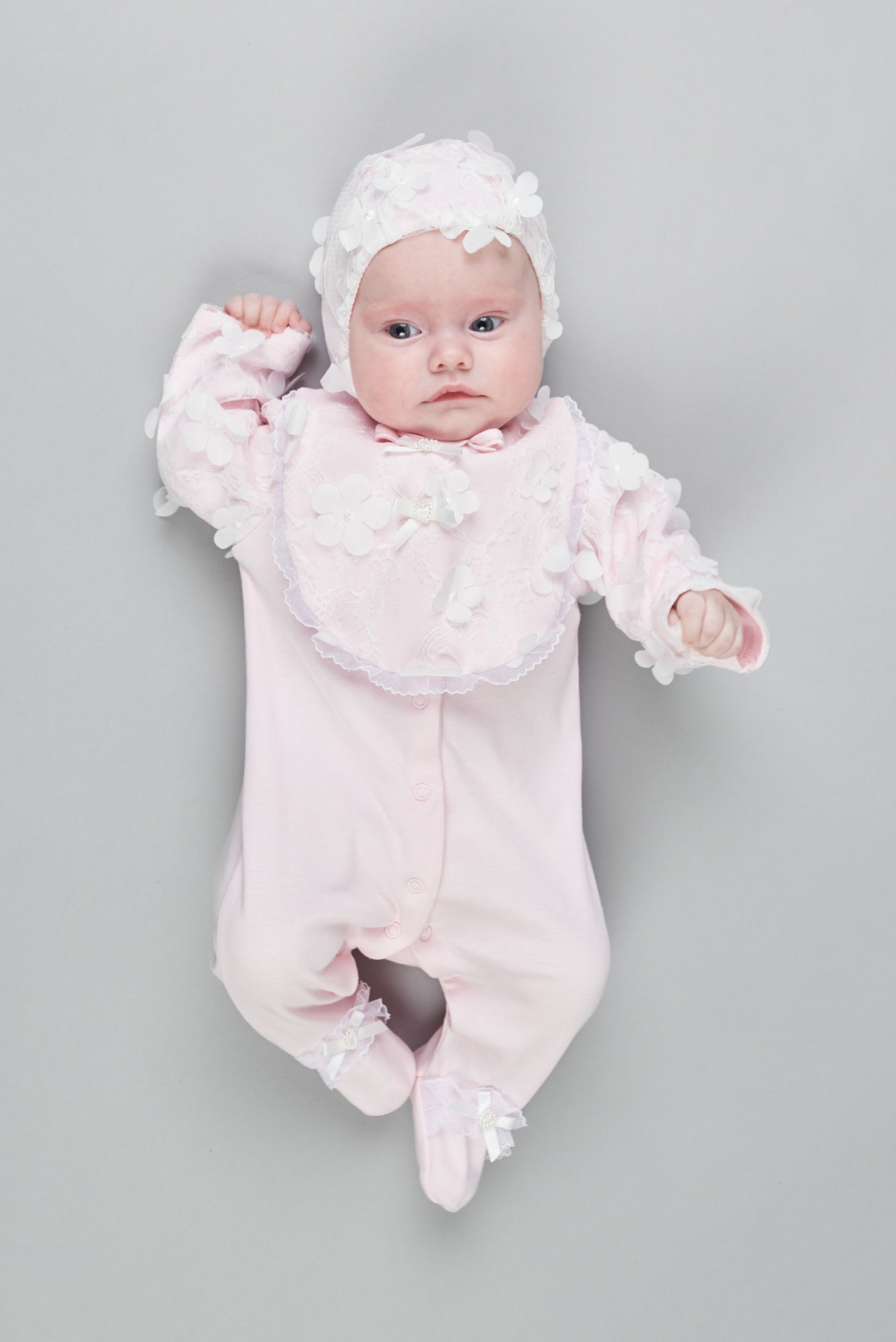 Flowers Embroidered Coverall, Bib and Bonnet Set