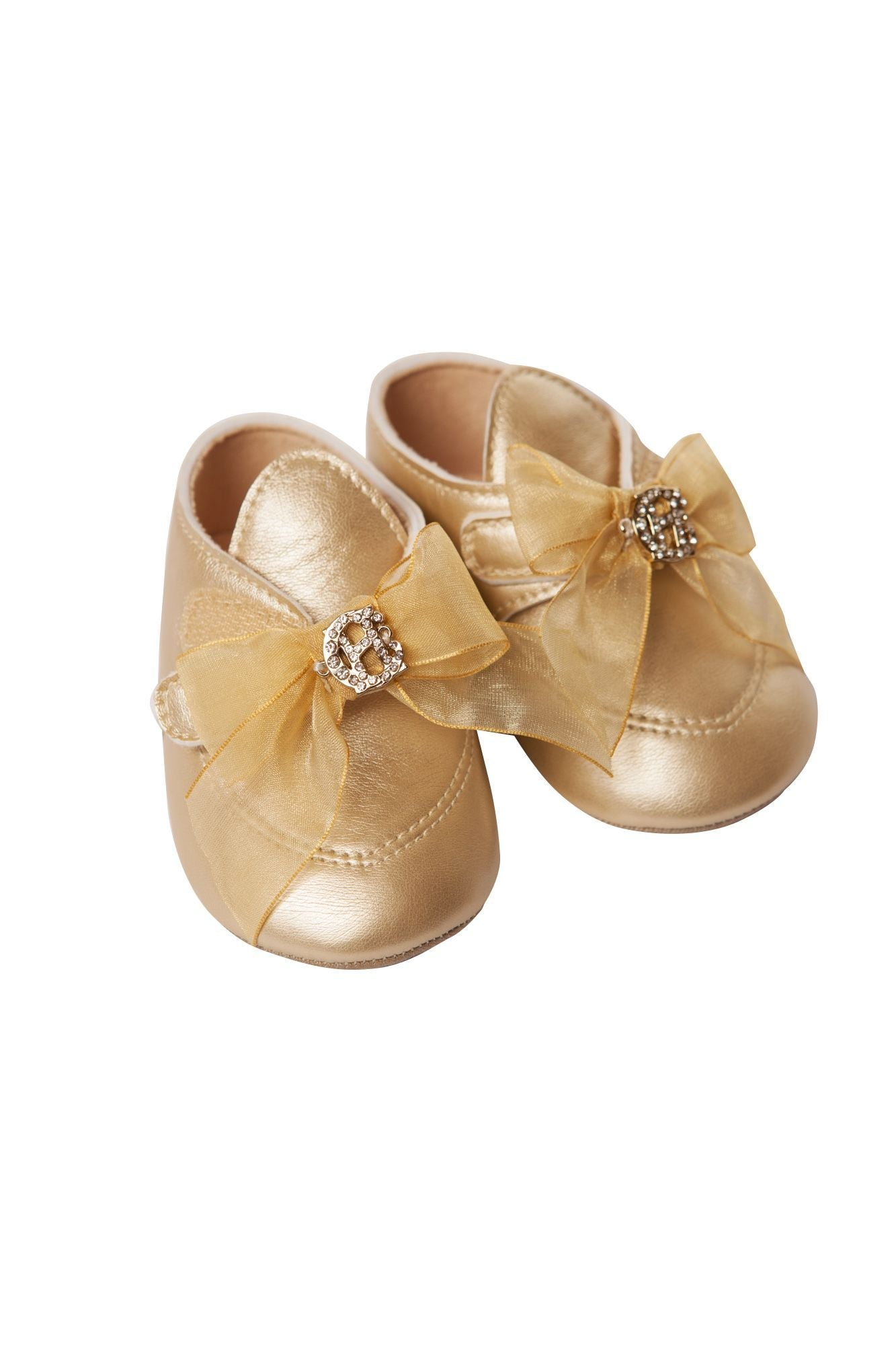 Gold Crib Shoes with Bow