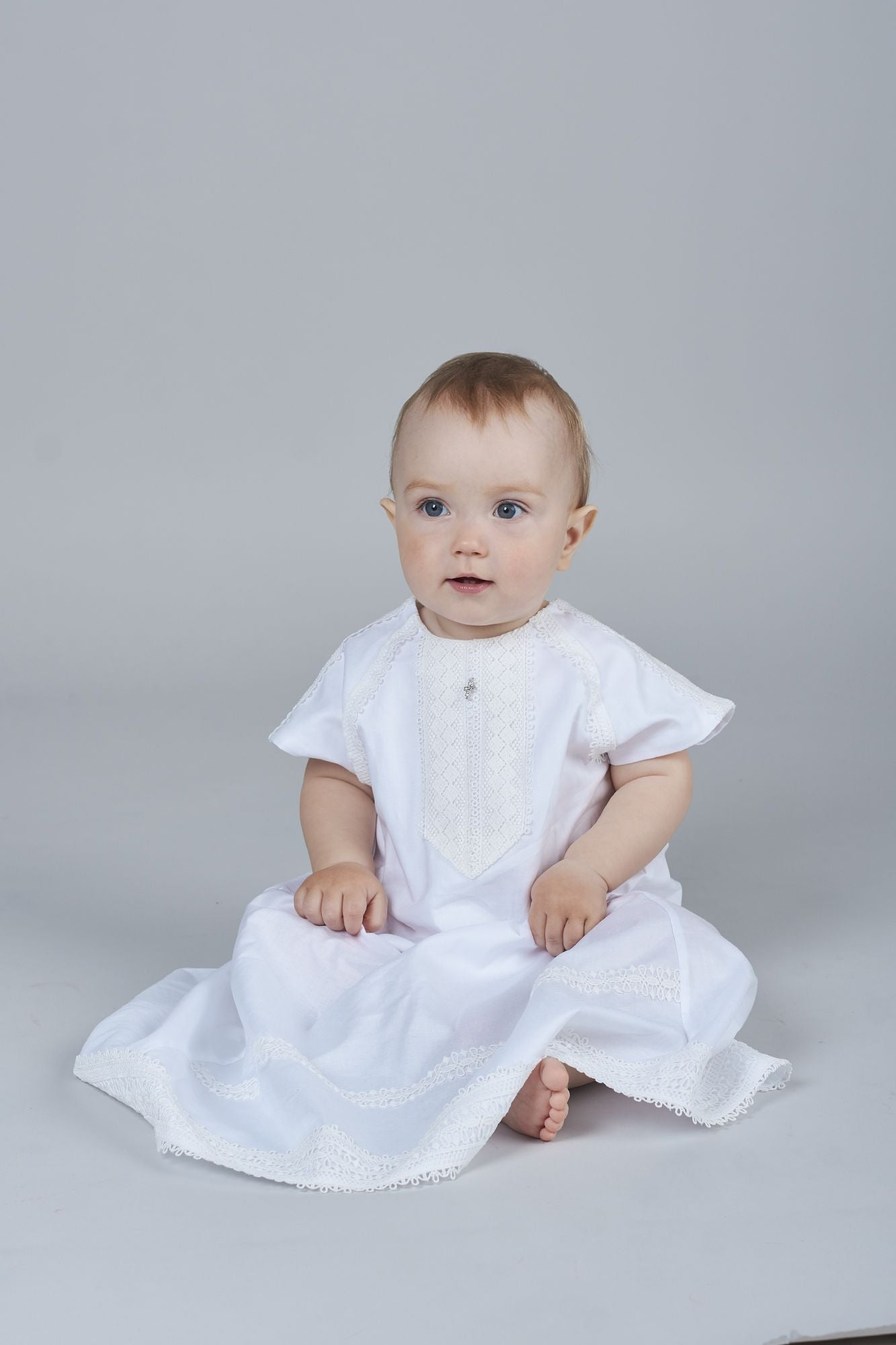 Crochet Lace Trim Christening and Baptismal Shirt