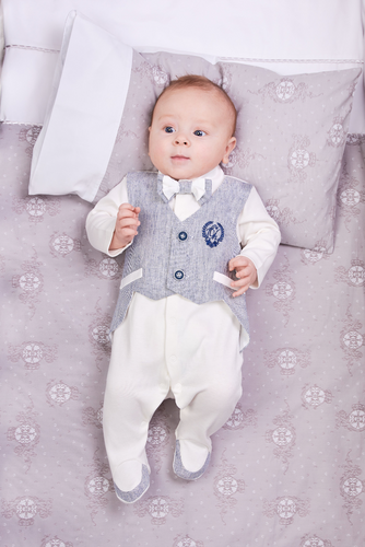 Stripe Vest and Bow-Tie Tuxedo Coverall