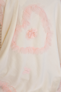 Tulle Heart Knit Blanket