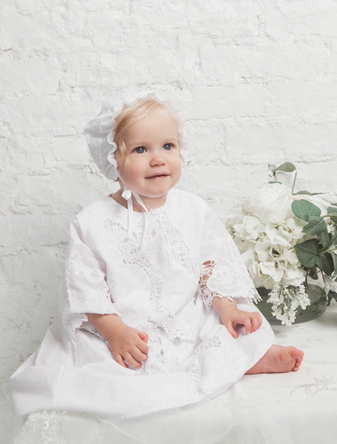 Baptismal and Christening Gown with Bonnet