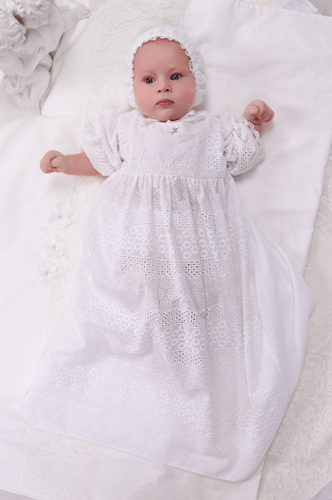 Bell Sleeve Lace Crochet Baptismal and Christening Gown