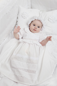 Crochet Lace Baptismal and Christening Dress with Hat
