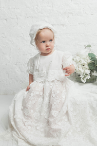 Flowers Enbroidered Baptismal and Christening Gown with Bonnet