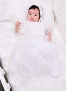 Lace Crochet Tulle Baptismal and Christening Gown