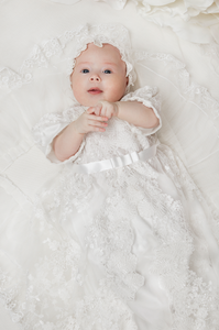 Luxury French Lace Baptismal and Christening Gown with Bonnet