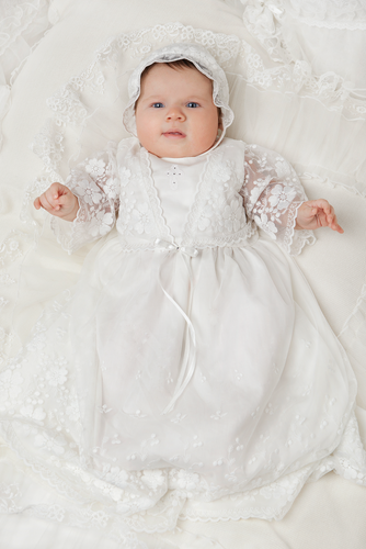 Needlework Lace Baptismal and Christening Gown with Bonnet