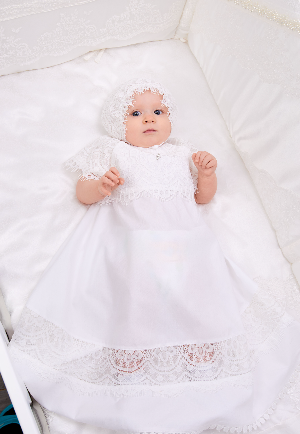 Bell Sleeve Lace Baptismal and Christening Gown