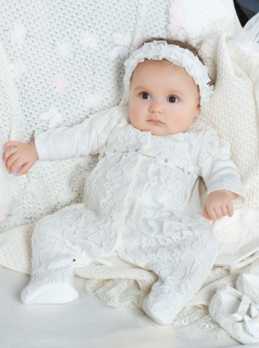 Lace Overall and Bonnet Set