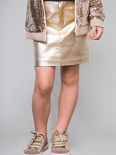 Load image into Gallery viewer, Metallic Coated Mini Skirt