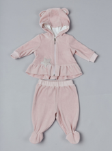 Load image into Gallery viewer, Velour Tracksuit with Decorated Hood
