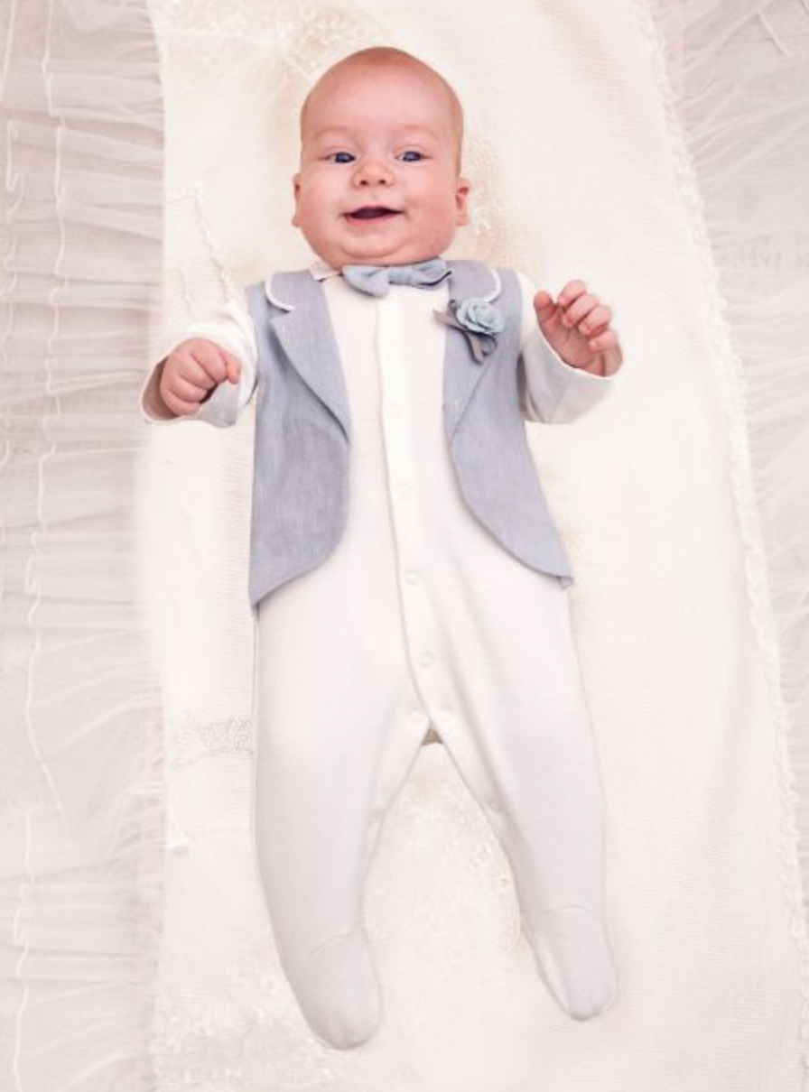 Linen Tuxedo Imitation Overall with Bow-Tie