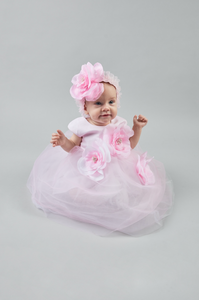 3-D Flowers Tulle Dress and Bloomer Set