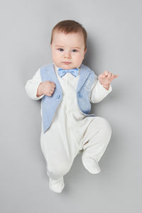 Tuxedo Imitation Coverall with Bow
