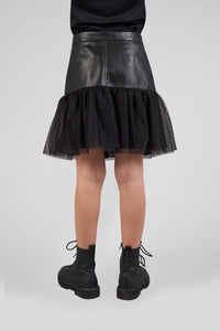 Tulle and Faux Leather Combined Skirt