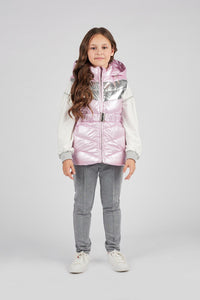 Hooded Metallic Puffer Vest