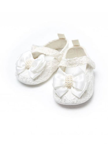 Satin Bow Crib Shoes