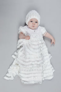 All Over Ruffles Christening and Baptismal Gown and Bonnet Set