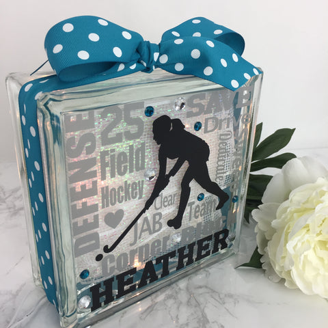 Field Hockey Girl Typography GemLight
