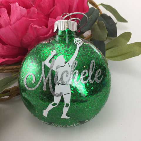 Volleyball Girl Glitter Ornament