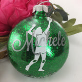 Volleyball Girl Glitter Ornament, Personalized glitter ornaments, volleyball player, volleyball gift, monogrammed