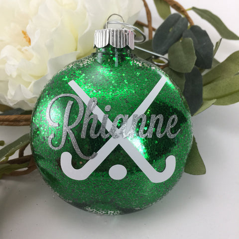 Field Hockey Sticks Glitter Ornament