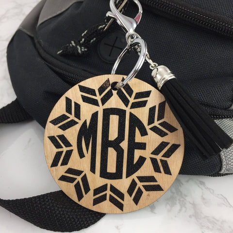 BOHO Chic Monogram Bag Tag, wood tag