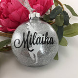 HipHop Dance Girl Glitter Ornament, Personalized glitter ornaments, hiphop gift, gifts for dancers, monogrammed