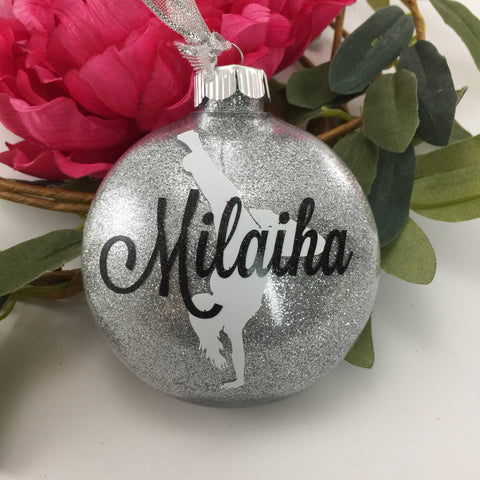 HipHop Dance Girl Glitter Ornament