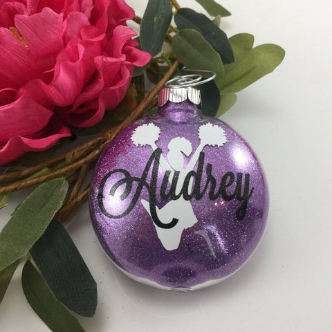 Cheerleader pompom Glitter Ornament