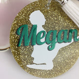 Irish dance birdie glitter bag tag, Personalized bag tag, feis gift, gifts for irish dancers, monogrammed