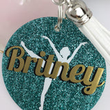 Ballet dancer on toe glitter bag tag, Personalized bag tag, ballet gift, gifts for dancers, dance recital, monogrammed